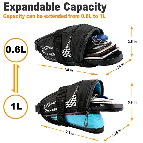 TOPTREK Bike Saddle Bag Outdoor Water Resistant Bike Bags under Seat with Expandable Capacity and Waterproof Zipper Bicycle Seat Bag for Foldable/Road/Mountain Bike by TOPTREK (Image #1)