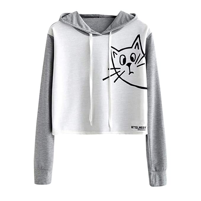 c7ddb07e7b364a HARRYSTORE Girl Crop Hoodie Sweatshirt Cute Women Short Jumper Sweater Crop  Top Pullover Tops  Amazon.co.uk  Clothing