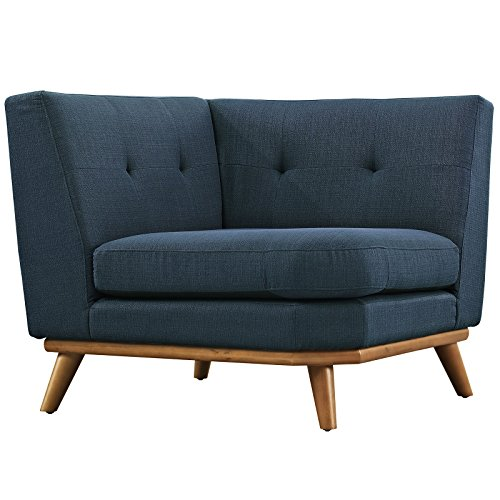 Modway Engage Mid-Century Modern Upholstered Fabric L-Shaped Sectional Sofa In Azure