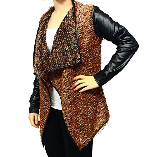 Brown Fluffy waterfall jacket with wet look sleeves