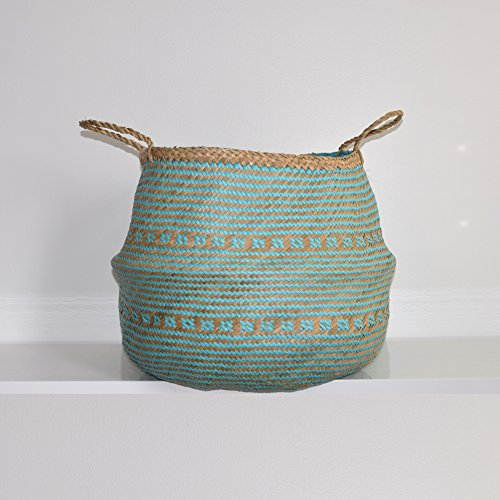 and Plush Woven Seagrass Tote Belly Basket for Storage, Laundry, Picnic, Plant Pot Cover, and Beach Bag (Plush Criss-Cross Seagrass Aquamarine, Large) (Grass Woven Tote)