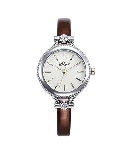 Loweryeah Rhine Stone Lady Pu Strap Quartz Wrist Watch Alloy Case