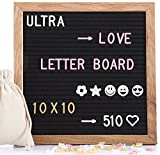 Felt Letter Board 10x10 inches, with 510 PCS Changeable Letters & Lovely Emojis, Solid Oak Wood Frame with Stand, Decorative Display Board Designed with Metal Hook on The Wall (Black)