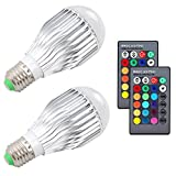 Tools & Hardware : ZSTBT 10W RGB Color Changing light bulbs E26 LED dimmable lamp with Remote Control[2 Pack]