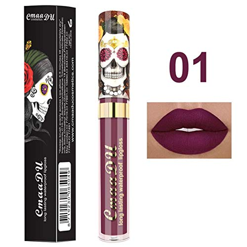 Ownest 6 Color Lipstick Set,Skull Face Matte Velvet Lip Gloss,Long Lasting Waterproof Lipstick Set-6pcs