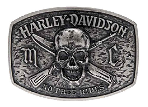 [Harley-Davidson Men's No Free Ride Skull Antique Belt Buckle, Silver HDMBU10860] (Harley Belt Buckles)