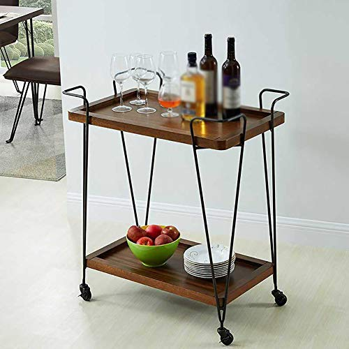 Kitchen Cart European Wrought Iron Hotel Dining Car, Trolley Wine Rack Multi-Function Rack Home Trolley with Wheels (603575cm) by Kitchen Cart (Image #2)