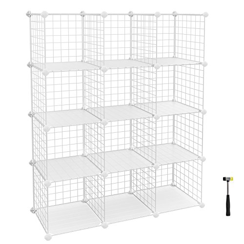 SONGMICS Metal Wire Storage Cube, Shoe Rack, DIY Closet Shelving Organizer Unit, Cabinet Wardrobe,Bookcase with Rubber Mallet 36.6''L x 12.2''W x 48.4''H, White, ULPI34W