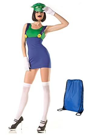 Be Wicked Womenu0027s Miss Luigi Costume with Accessories ...  sc 1 st  Amazon.com : luigi costume accessories  - Germanpascual.Com