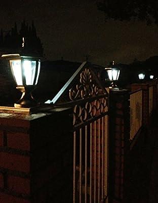 2-Pk Premium Solar Hexagon Light w/ Fence Post Cap 6inch x 6inch universal base Finish: Black