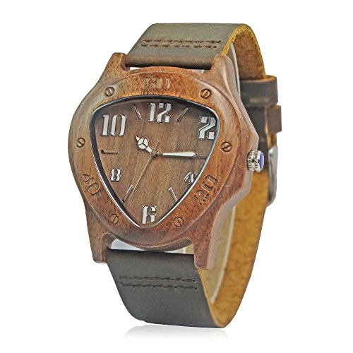LUMINOUS HANDS Walnut Wood Triangle Case Quartz Wristwatches Leather Band men's dress watch Japan MOVT (Walnut Dress Wood)