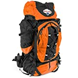 Grizzly Peak SOEQ-103 Internal Frame Hiking and Camping Day Backpack, Orange, 70 L