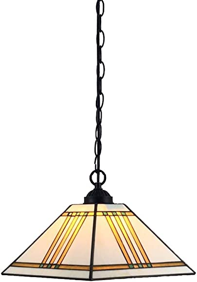 Bieye L10340 Mission Tiffany Style Stained Glass Ceiling Pendant Fixture with 11-inches Wide Lampshade, 47-inch Tall