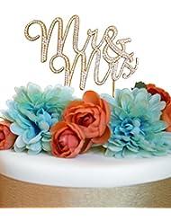 Mr and Mrs GOLD Cake Topper - Premium Crystal Rhinestones - Wedding Bridal Shower or Anniversary Cake Topper (Mr & Mrs Gold)