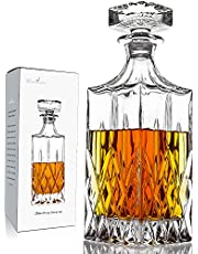 Whiskey Decanter With Glass Stopper ,26 oz Liquor Decanter For Alcohol , Wine , Scotch , Brandy or Bourbon Decanter , Lead-Free Crystal Decanter