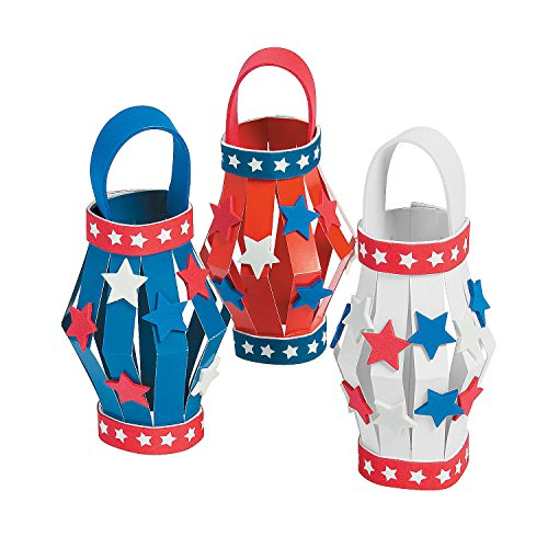 Fun Express - DIY Patriotic Paper Lanterns ck for Fourth of July - Craft Kits - DYO - Paper - Misc DYO - Paper - Fourth of July - 12 Pieces