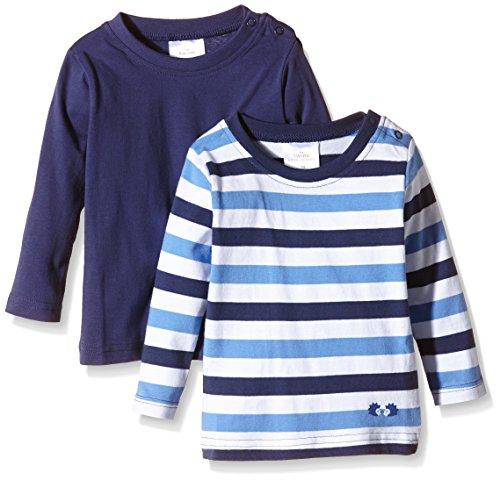 Twins Baby - Jungen Langarmshirt im 2er Pack, Gr. 68, Blau (Marine 194024)