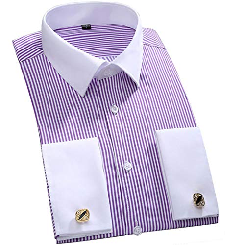 TAOBIAN Mens Dress Shirts French Cuff Long Sleeve Formal Slim Fit Shirts (Cufflink Included) PurpleWhite US L