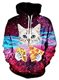 Uideazone Teen 3D Galaxy Pizza Cat Printed Pullover Hoodie Sweatshirt Cool Outwear Coat