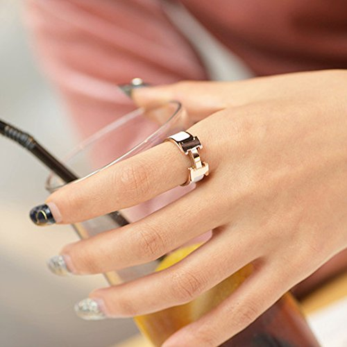 Love Ring - Titanium Fashion Classic Color Blocking H Ring (size: 5-10) (Gold/White, 8) by Qindishijia (Image #3)