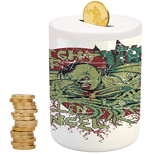 Vampire,Piggy Bank,Printed Ceramic Coin Bank Money Box for Cash Saving,Night of Fallen Angel Demonic Zombie Hunting Freaky Scary Nightmare Image