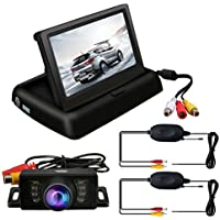 TVIRD Backup Camera And Monitor Wireless Car Rear View System Night Vision IR Reversing Rear View Camera +Foldable 4.3 Color HD LCD Monitor Parking Kit For Truck Van Caravan Trailers Camper