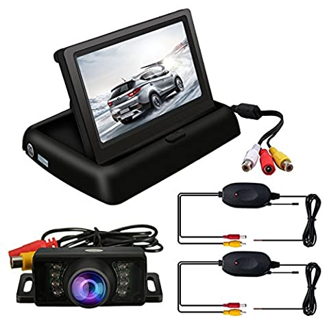 TVIRD Backup Camera And Monitor Wireless Car Rear View System Night Vision IR Reversing Rear View Camera +Foldable 4.3'' Color HD LCD Monitor Parking Kit For Truck Van Caravan Trailers (Rear View Truck Camera)