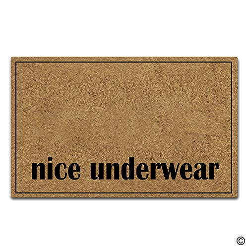 Artswow Funny Door Mat Entrance Floor Mat Nice Underwear Designed Decorative Indoor Outdoor Doormat Enterways Non-Slip Rubber Backing Mat 18