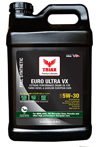 Triax EURO ULTRA VX 5W-30 - Longlife III Full Synthetic Engine Oil - VW 507.00/504.00, VW Audi 502.00, 505.01, BMW LL-04, Porsche C30, ACEA C3, Mercedes 229.51, 229.5, 229.31 (2.5 GAL)