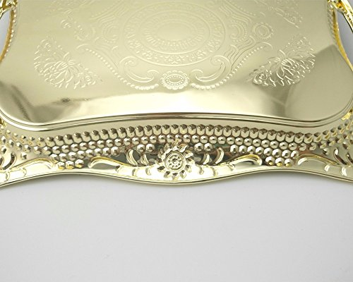 Eaglood 30X20CM/36X25CM Stainstainless Steel Golden Dish Plate/Metal Serving Tray Delicate Ss Plate/Tableware Metal Plate/Fruit Plate golden 43x29 by Eaglood (Image #4)