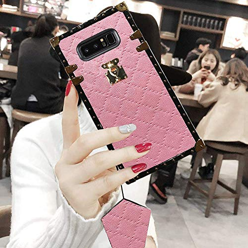 - BABEMALL Compatible for Samsung Galaxy S8 Case, Luxury Diamond Design Metal Four Corner Protective Square PU Leather Back Classic TPU Bumper Case - Pink