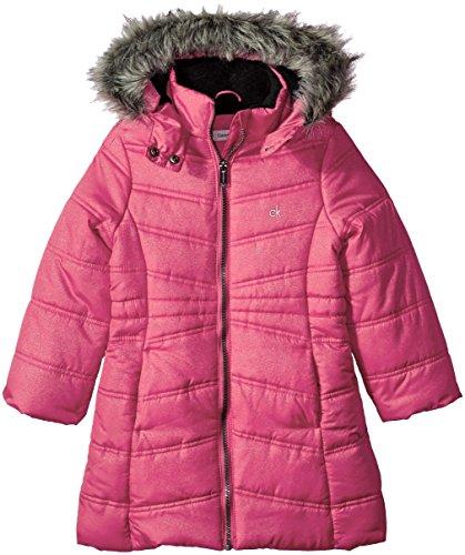 Calvin Klein Little Girls' Long Puffer Jacket, Lipstick, 5 -