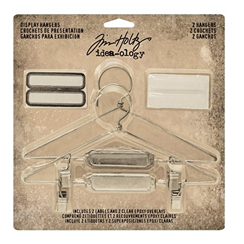(Tim Holtz Idea-ology Display Hangers Findings 2 Per Pack, Includes Hangar Labels and Epoxy Attachment Stickers, 5.75 x 3 Inches, Antique Nickel (TH93271))