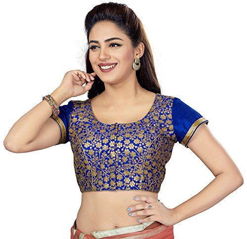 TrendyFashionMall Readymade Embellished Sequin Work Saree Blouse Blue-XXL-46