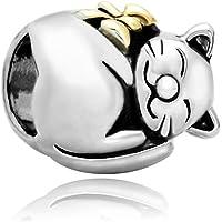Cute Sleeping Fortune Cat Animal Bead Fits Pandora Charms Bracelet