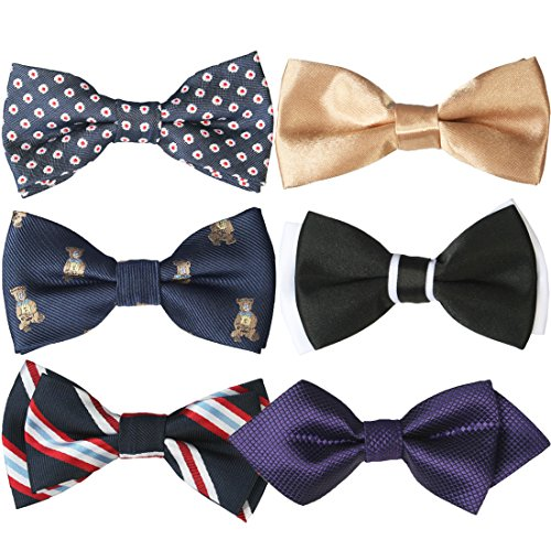 kilofly Pre-tied Adjustable Boys Baby Neck Bow Ties Mixed Value Pack, Set of 6 (Boys Ties Bundle)