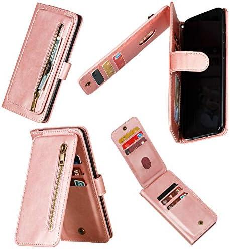 Miagon Reißverschluss Brieftasche Tasche Hülle für Samsung Galaxy S20 Ultra,Magnet Stand-Funktion Leder Schutzhülle Flipcase mit 9 Kartenfach und Handschlaufe,Rose Gold