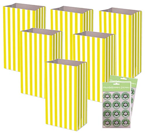 Yellow Pick n Mix Bags With Sticker Seals – Birthday Party Candy Stripe Large Thick Paper Sweet Bag (60 Bags)
