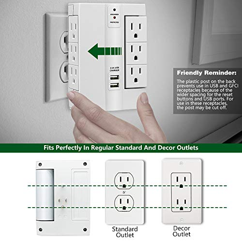 Wall Surge Protector, Lovin Product Multi Plug Outlet Wall Tap Power Strip with 2 USB Ports, 6 Protected Outlets (3 Swivel Outlets), Grounded Indicator, ETL Certified Wall Mount Socket – White by LOVIN PRODUCT (Image #2)