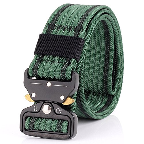 Tactical Belt for Men and Women, Military Style Nylon Webbing with Heavy-Duty Quick-Release Metal Buckle, 49 Inch Adjustable Waist Belt (green)