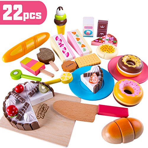 iPlay, iLearn Mini Pretend Play Cutting Food Toys, Kitchen Wooden Cake Kit, Cooking Wood Eat Set with Knife, Cutting Board, Learning Gifts, Best for 2, 3, 4, 5, 6 Year - Doug Wooden Food Cutting