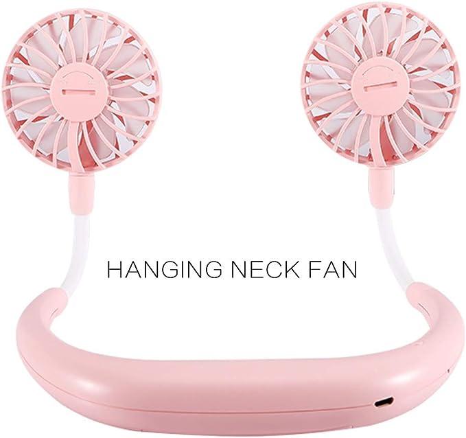Portable Fan USB Rechargeable Wearable Neckband Mini Fan for Camping Traveling Office Room Kids Stroller White BAODANstore Hands-Free Neckband Fan