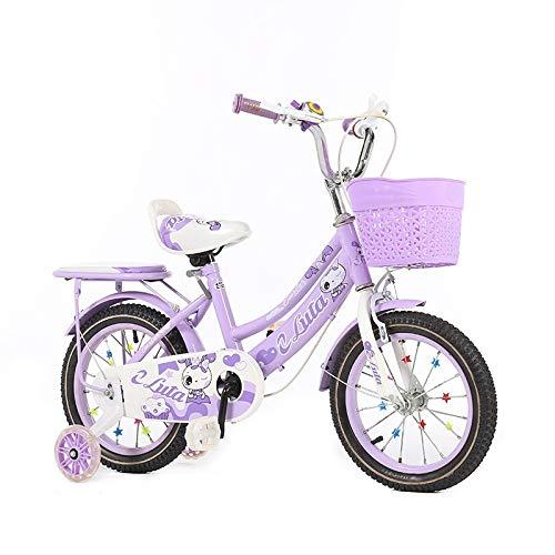 TLMYDD 子供用自転車、男の子と女の子の屋外自転車、補助輪スクーター付きベビーカー12/14/1618インチ (Color : 紫の, Size : 18Inch) 紫の 18Inch
