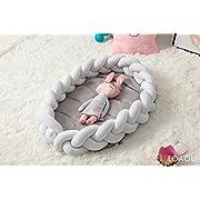 LOAOL Baby Crib Nest Bed Newborn Co Sleeper Knotted Braided Naper Infant Nursery Decor Cradle Bumper (White, 17.7 23.6 )