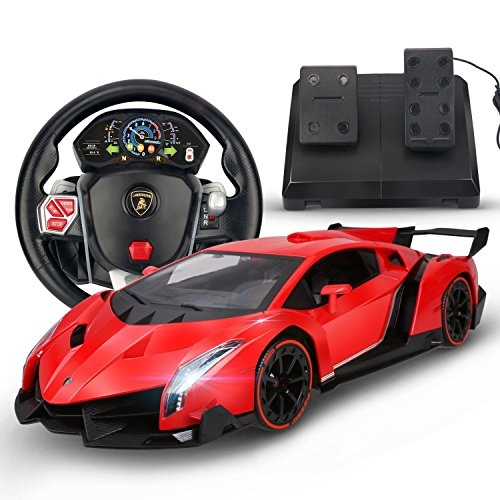 Holy Stone RC Car Lamborghini Veneno 1/14 Scale, Realistic Driving Experience,Gravity Sensor Radio Control Vehicle Diecast Model Color Red