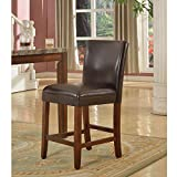 HomePop 24-inch Luxury Brown Faux Leather Barstool