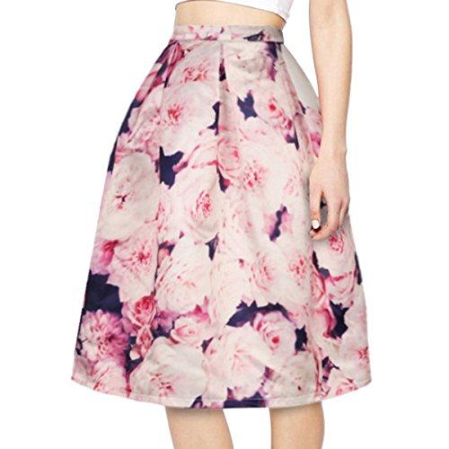 asairy muchacha mujer Señora Una línea retro Impresión del plisado de la falda del patinador del estilo de la vendimia floral Galaxy Print faldas hasta la rodilla elegantes Mezclar Color-006