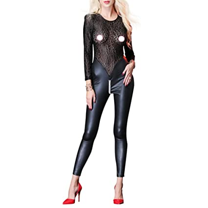 e7e114979 FJLOVE Women PU Leather Lace Front Zipper Crotchless See Through Bodysuit  Long Sleeve Sexy Lingerie Clubwear
