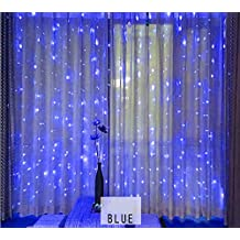 Window Lights, VSOAIR 6m x 3m 600 LED Curtain Light with 8 Modes Curtain Icicle Lights for Wedding, Party, Window, Home Decoration (Blue)