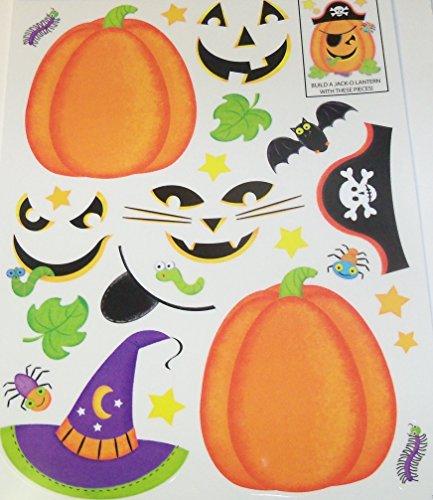 Halloween Reusable Window Cling ~ Build Your Own Jack-o-Lanterns (13 Clings, 1 Sheet) (Jack Own O-lantern)